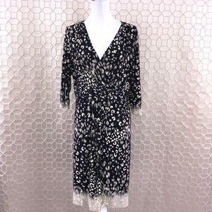 Chico's Faux Wrap Dress Black/White Size 3 - XL/16
